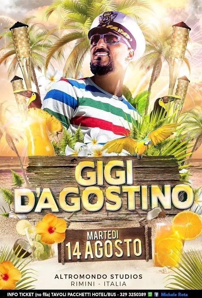 GIGI D'AGOSTINO Altromondo Studios Rimini – 14 AGOSTO 2018 | Ticket Tavoli Pacchetti hotel Prevendite