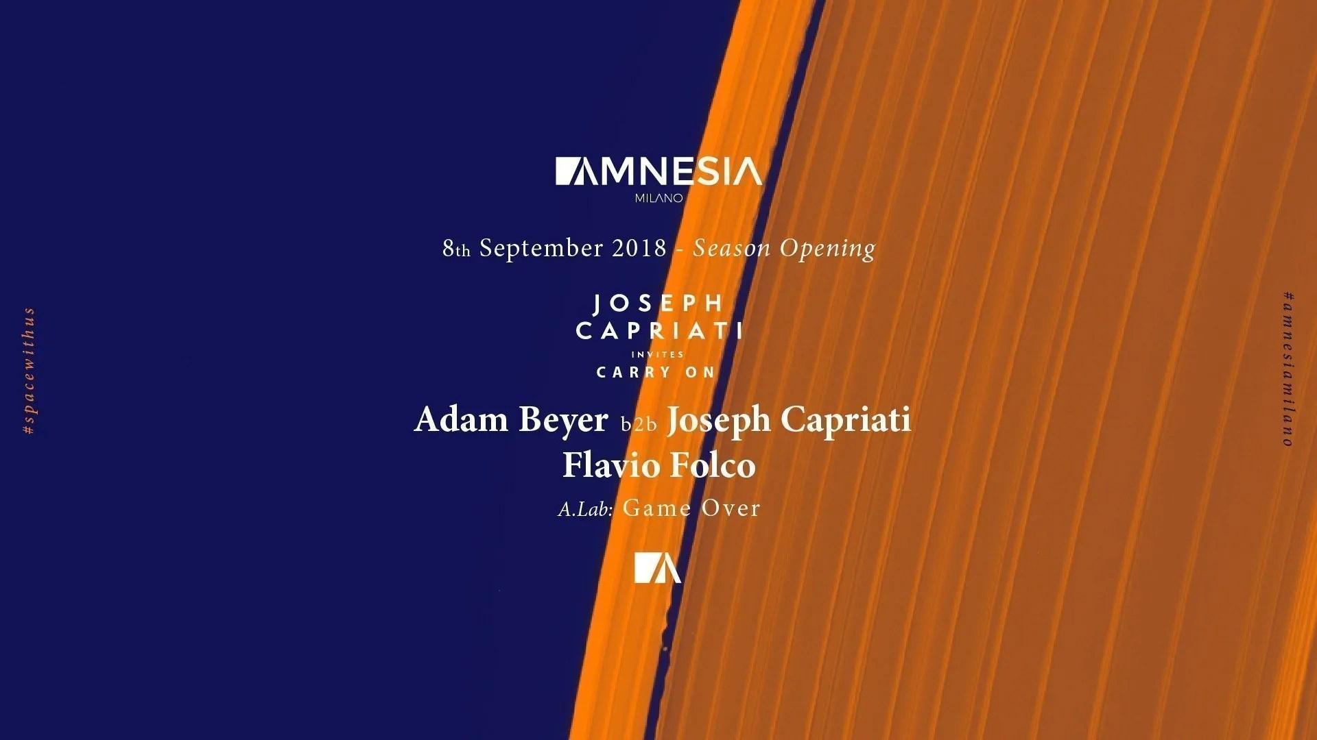 08 09 2018 – Amnesia Milano – Joseph Capriati | Ticket in Prevendita – Tavoli – Pacchetti Hotel