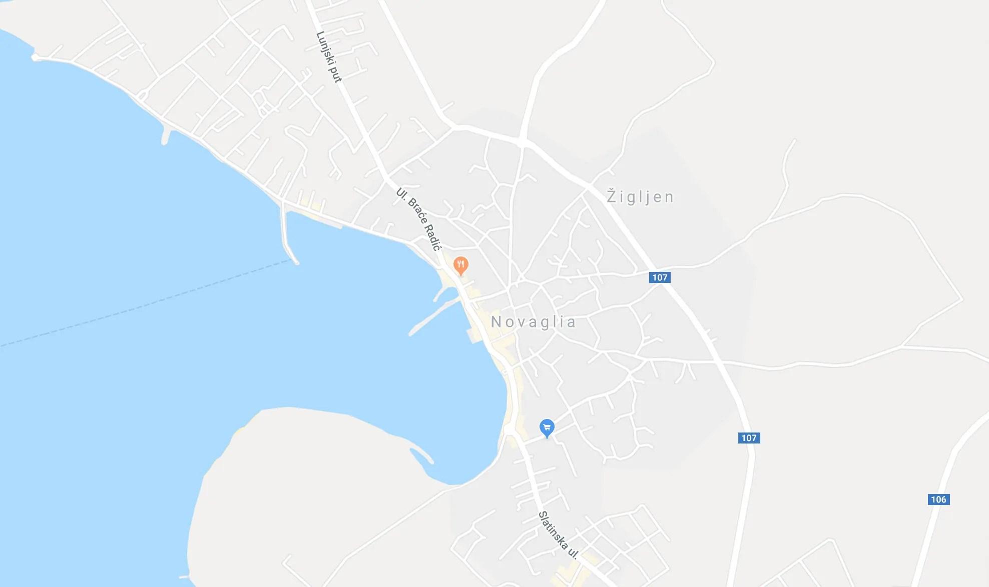 mappa città novalja pag
