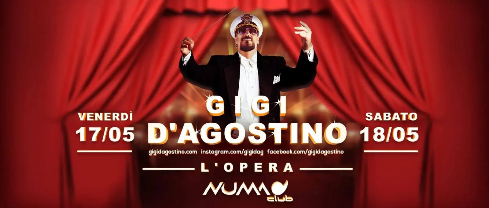 Numa Club Bologna GIGI D'AGOSTINO –  17 E 18 Maggio 2019 | Ticket Biglietti 18APP Tavoli Pacchetti Hotel Prevendite