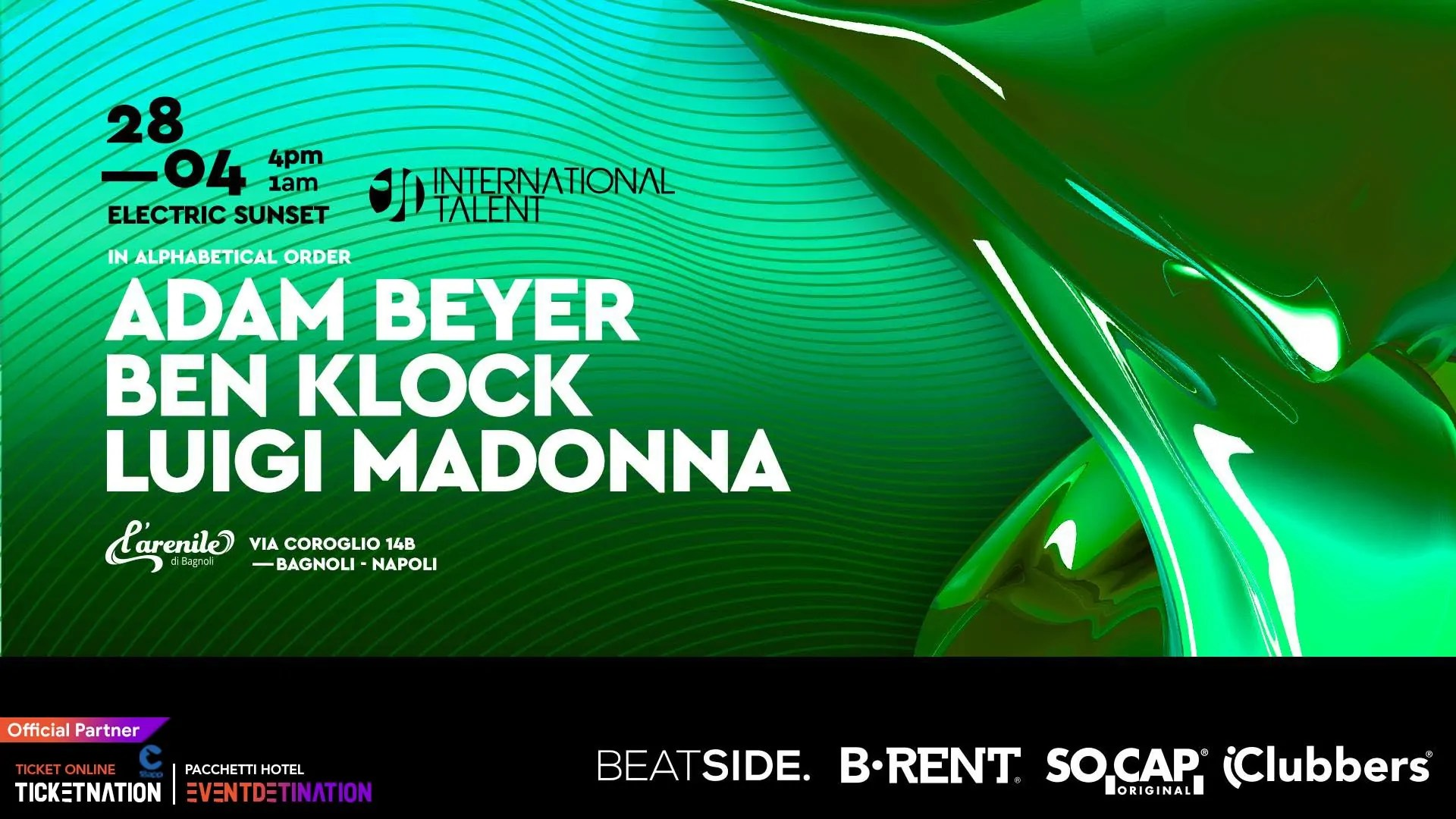 International Talent 28 Aprile 2019 Adam Beyer Ben Klock