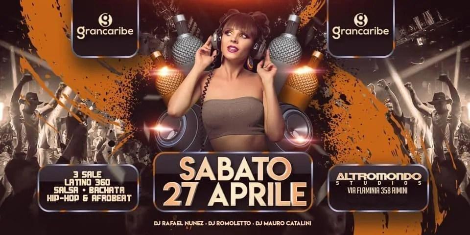 Grancaribe Altromondo Studios Rimini – Sabato 27 Aprile 2019   Ticket Tavoli Pacchetti hotel Prevendite