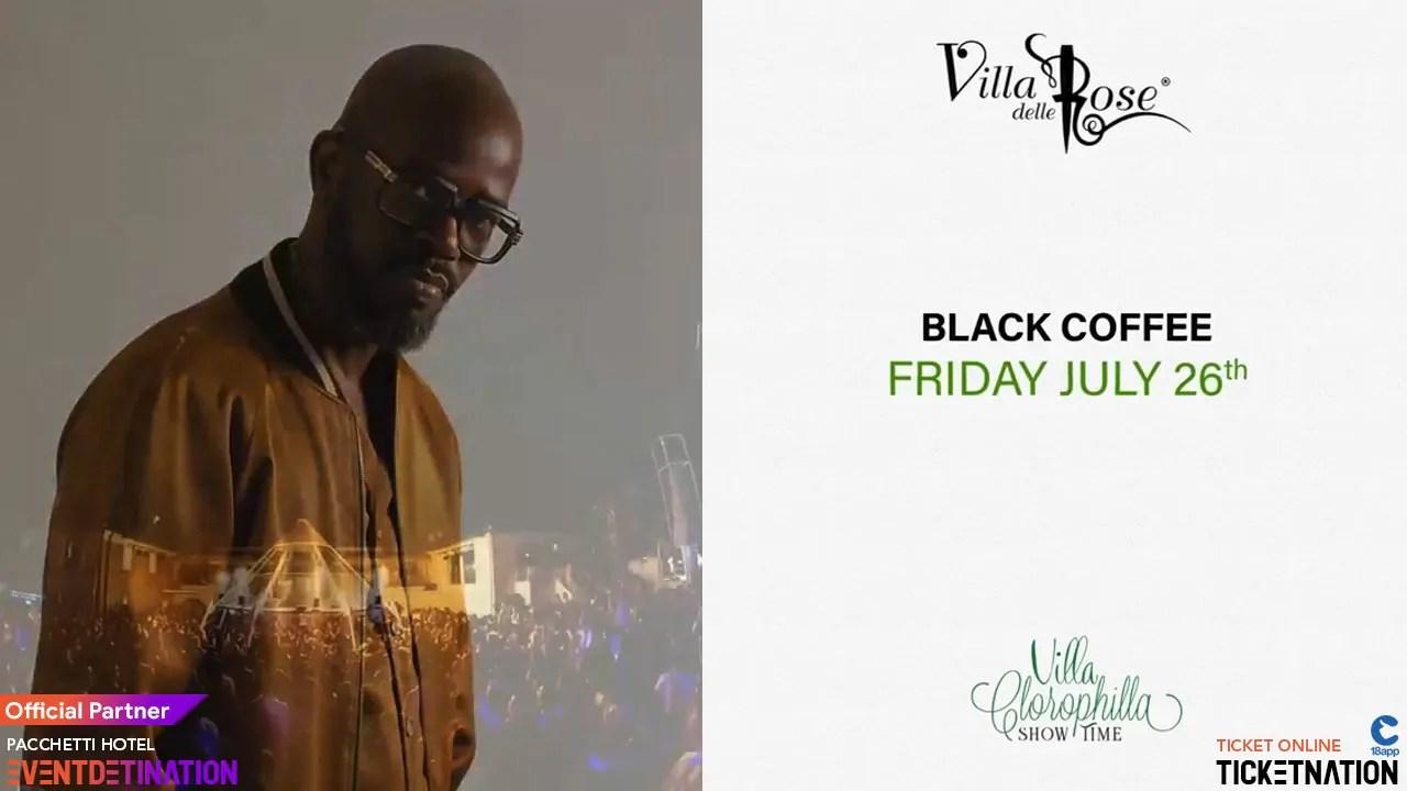 Black Coffee at Villa delle Rose Venerdì 26 Luglio 2019 + Prezzi Ticket/Biglietti/Prevendite 18APP Tavoli Pacchetti hotel