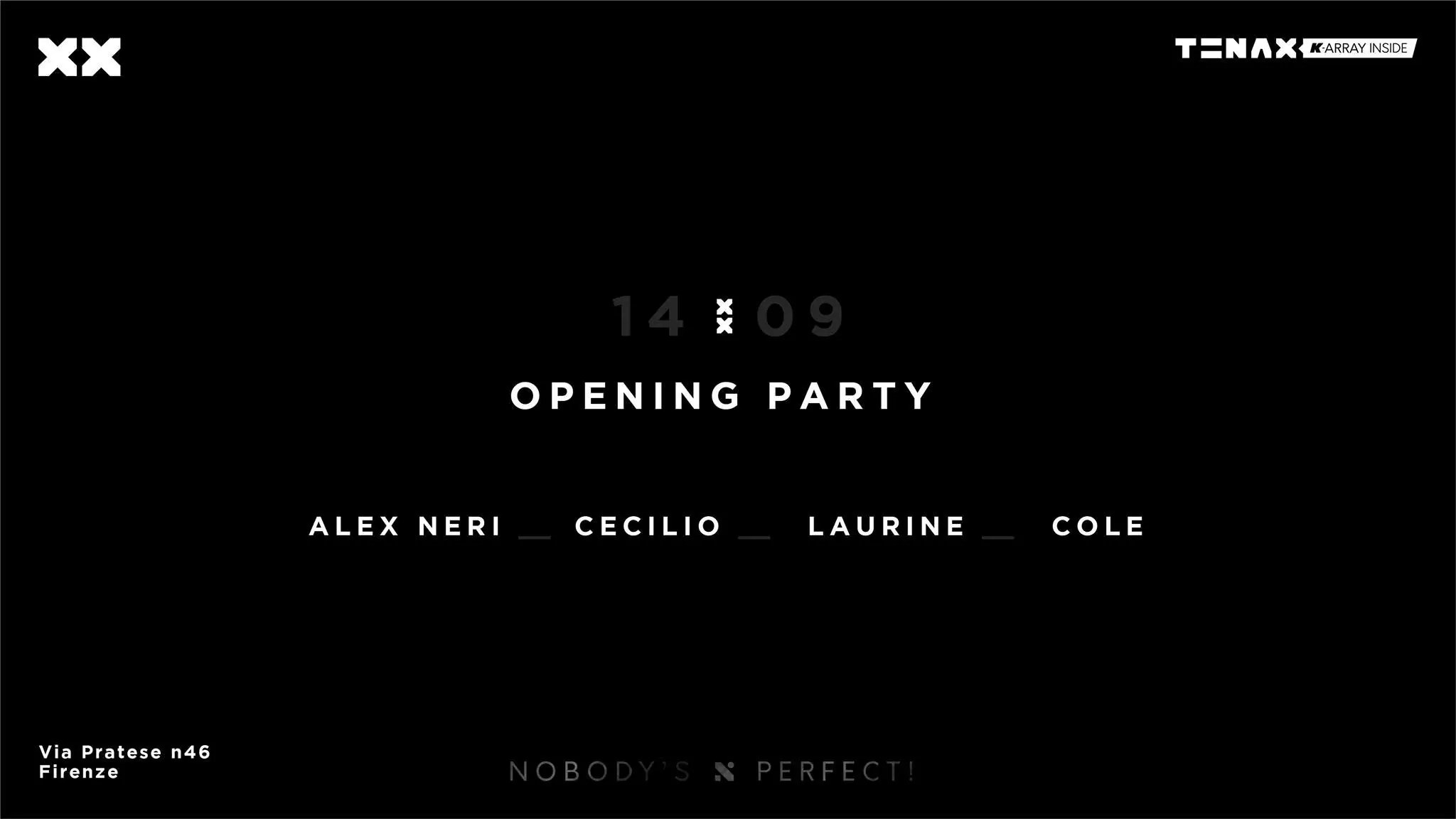 Tenax Opening Party 14 Settembre 2019