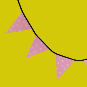 Guirlande à fanions rose cœurs