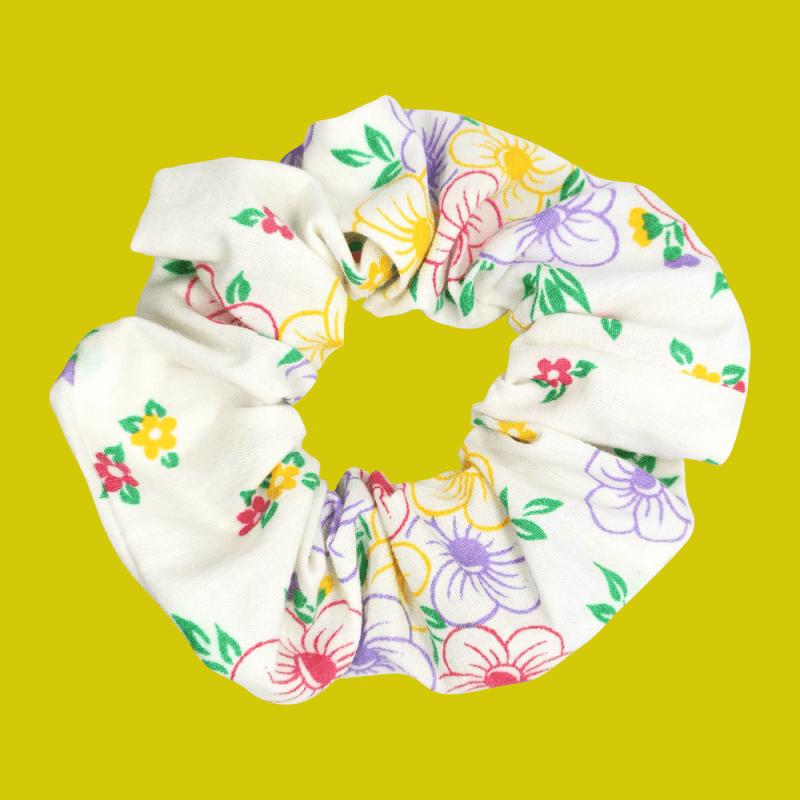 chouchou fleurs multicolore