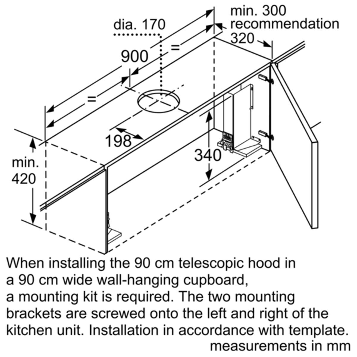 Neff D49ml54n0b Telescopic Hood 90 Cm Wide
