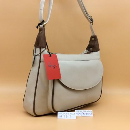 Gigi Leather Bag - 22-17G. Ivory/Mid.Brown