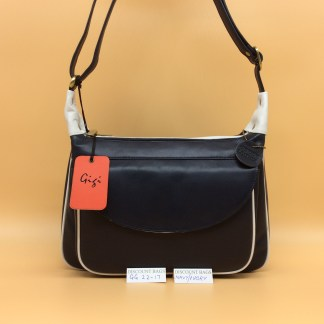Gigi Leather Bag - 22-17G - Navy/Ivory