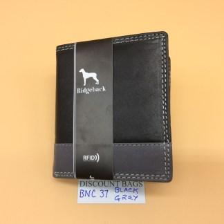 RFID Leather Wallet - NC37. Black/Grey