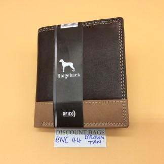 RFID Leather Wallet - NC44. Brown/Tan