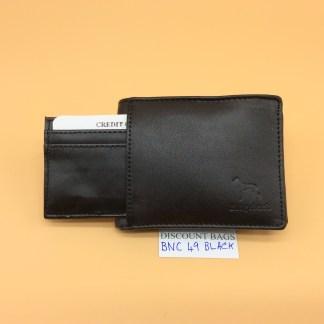 RFID Leather Wallet - NC49. Black stitching