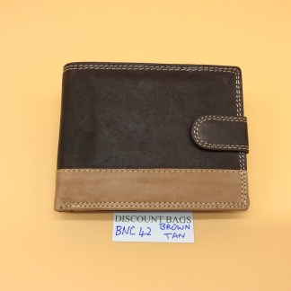 RFID Leather Wallet - NC42. Brown/Tan