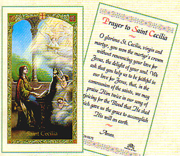 Saint Cecilia Laminated Prayer Card