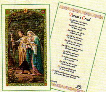 Parents Creed Laminated Prayer Card