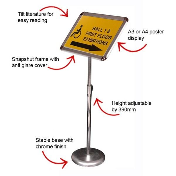 Height Adjustable Portable Sign Holder | Discount Displays