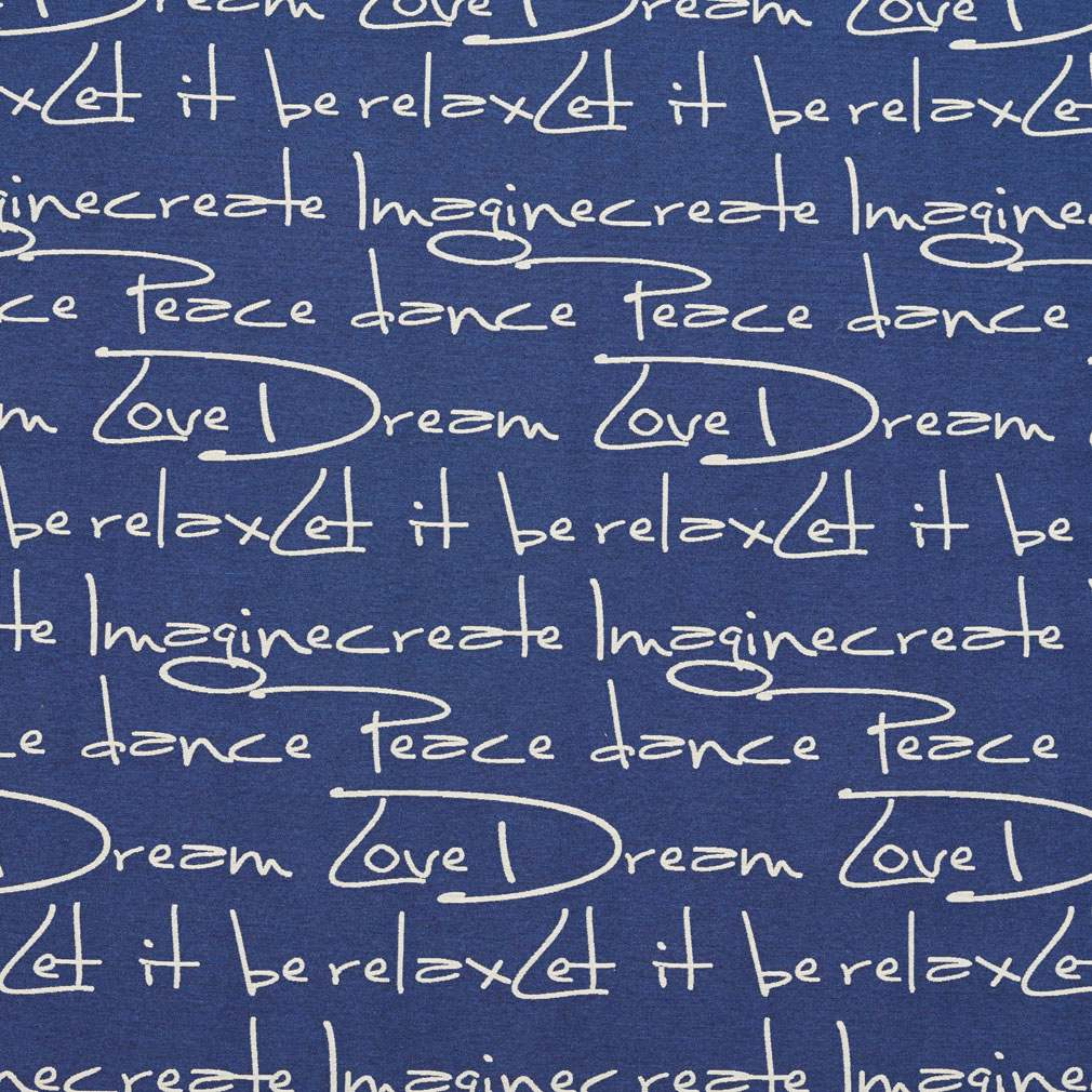 j9400s blue and white script writing jacquard upholstery fabric