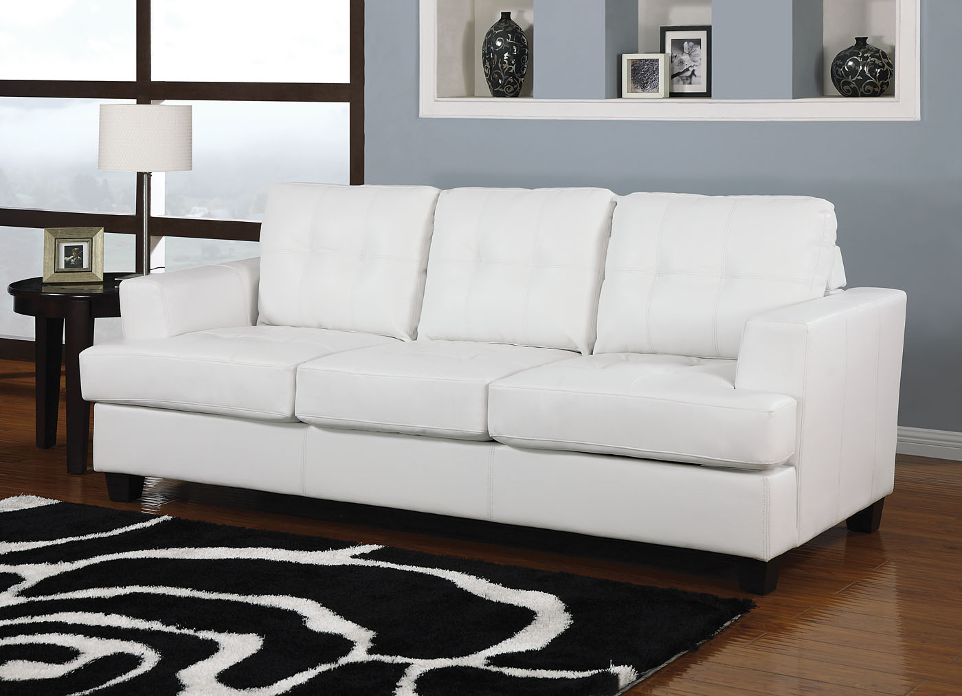Acme Diamond Bonded Leather Sofa Sleeper In White 15062