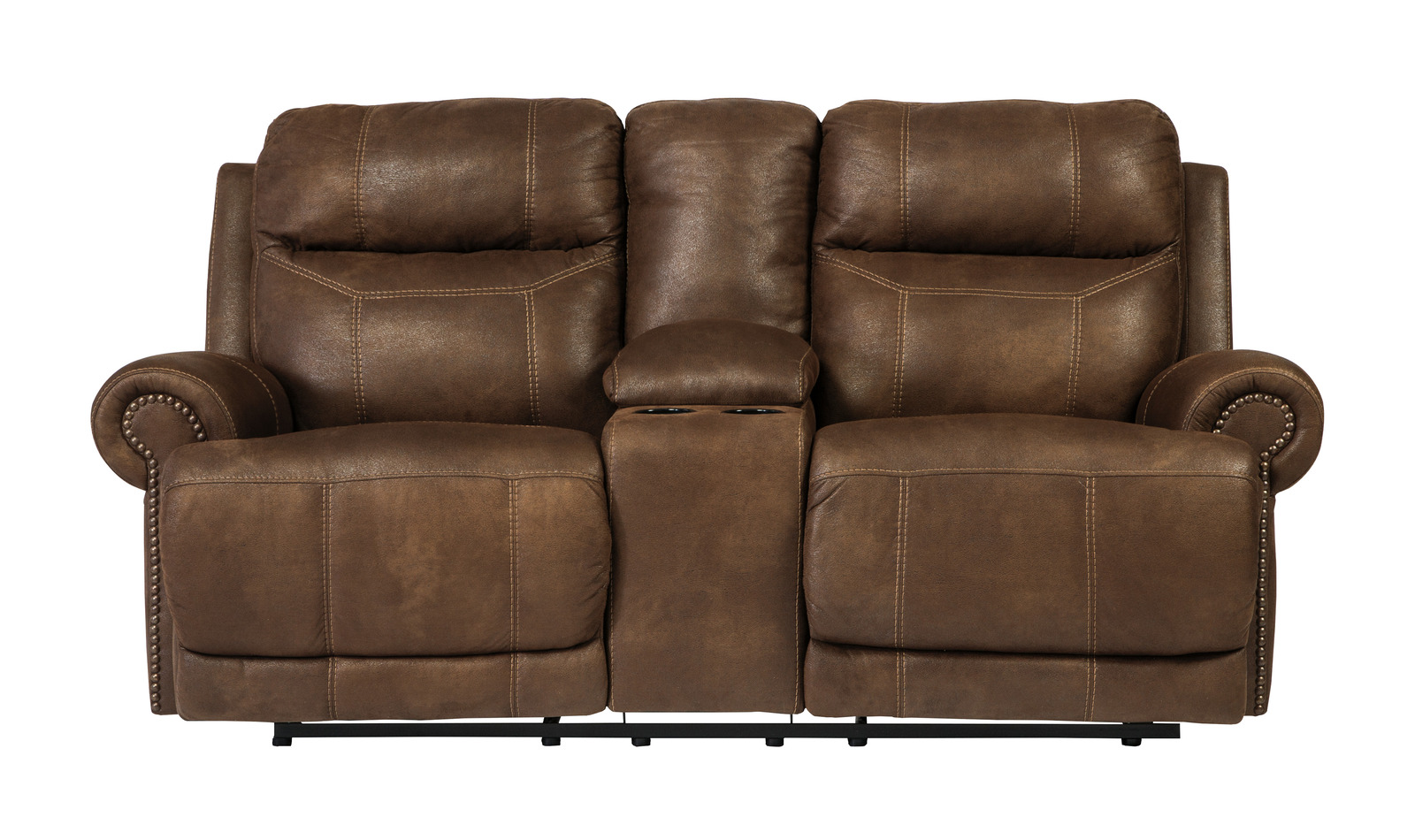 Austere Double Reclining Loveseat W Console In Brown 3840094 CLEARANCE