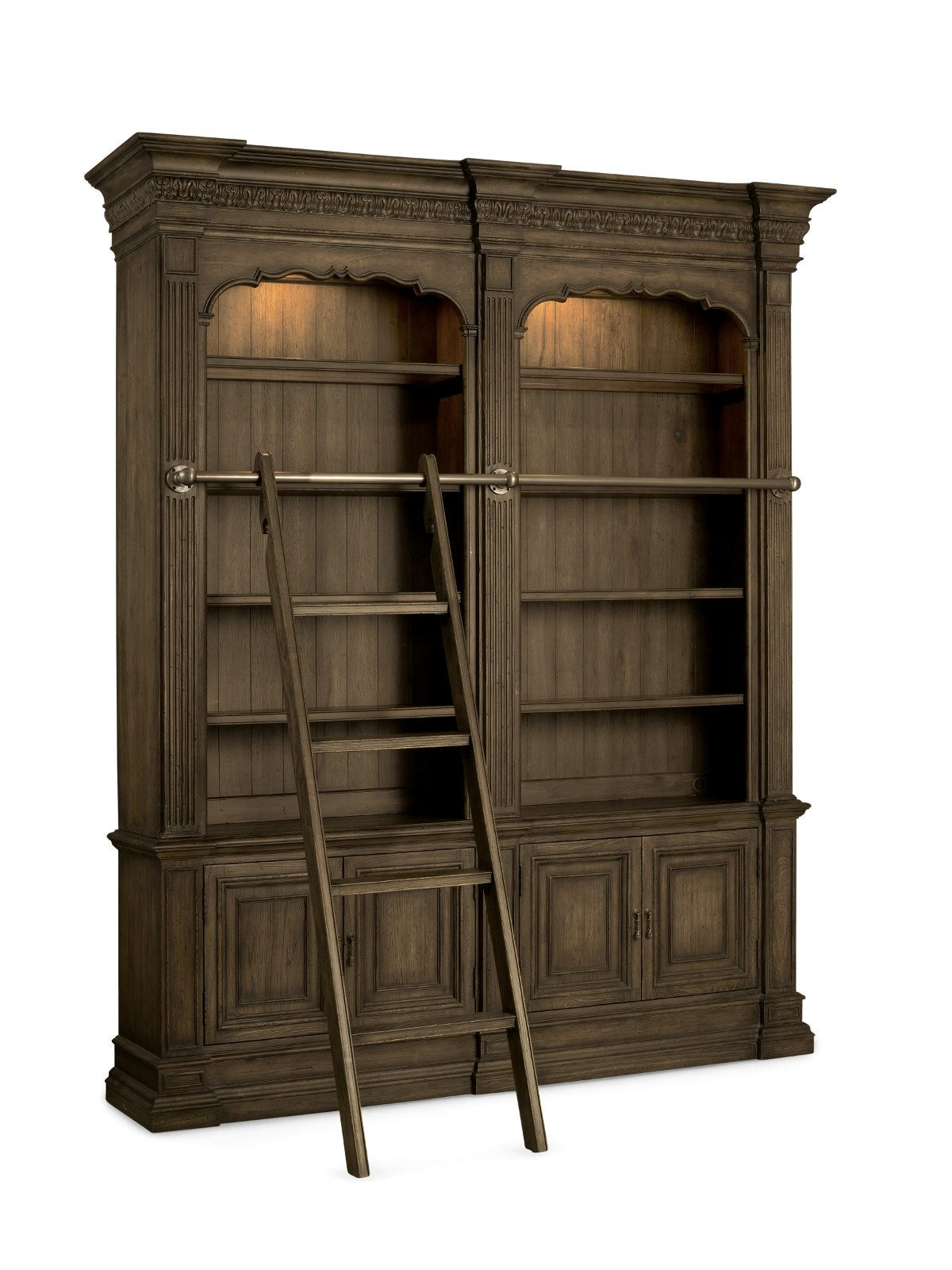 Hooker Furniture Rhapsody Double Bookcase With Ladder And Rail