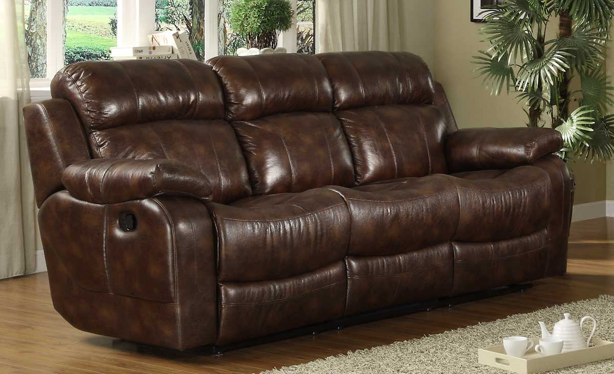 Homelegance Marille Double Reclining Sofa With Center Drop Down Cup Holders In Brown 9724PM 3