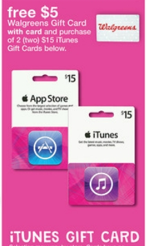 Walgreens FREE 5 Gift Card W Purchase Of ITunes Or