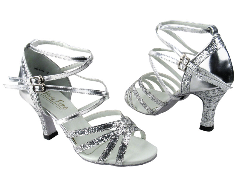 713a75a794 5008 Silver Sparkle & Silver Leather - Discount Salsa Shoes