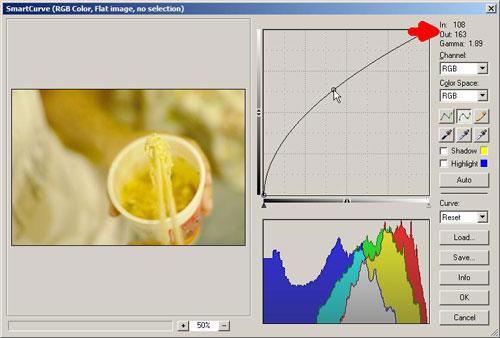 Adjusting the blue color channel curve