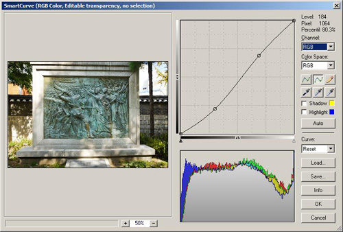 Smart Curves adjustment window in Photoshop Elements