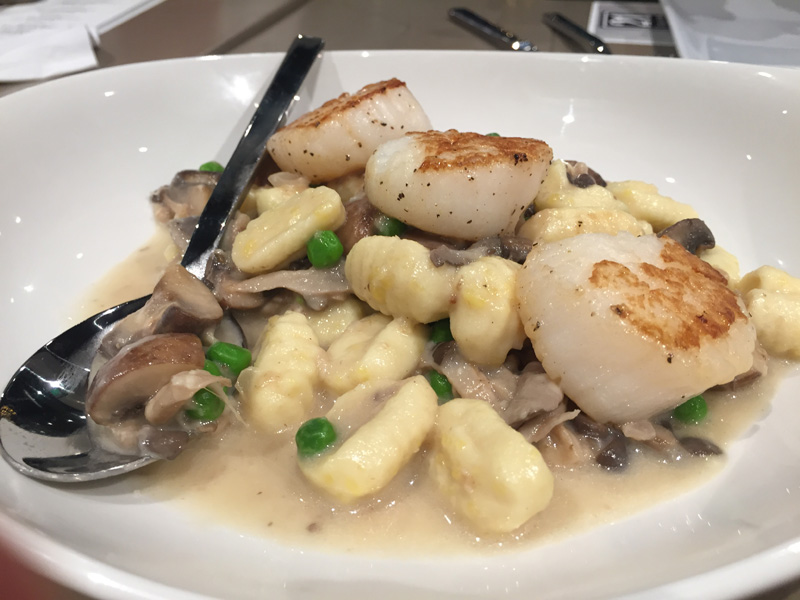 Pan-Roasted Sea Scallops with ricotta gnocchi, mushrooms, peas and truffle butter