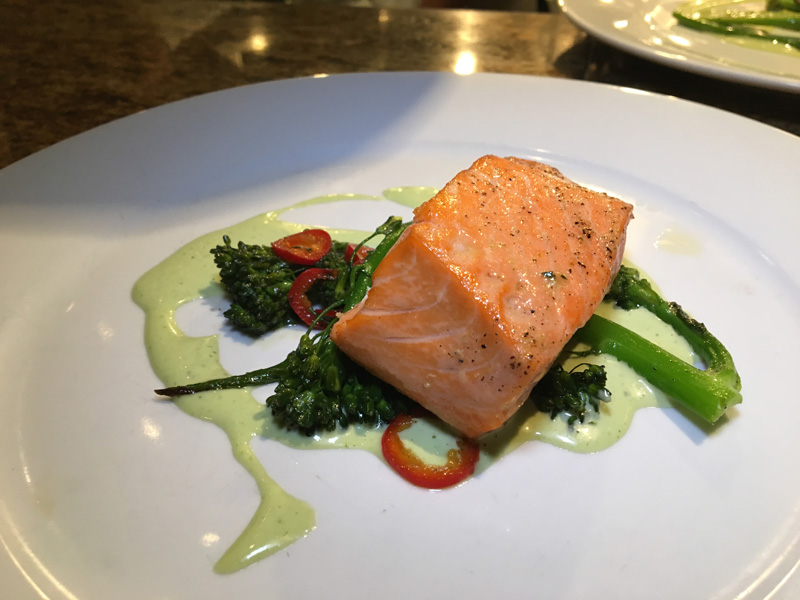 poached salmon with broccollini - Lago