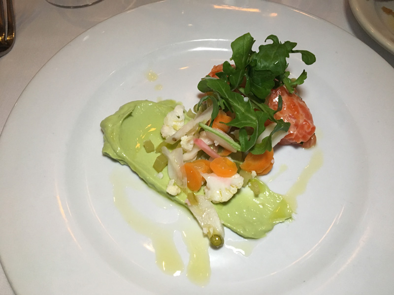 Salmon Tartare with pinenuts, giardiniera and wild arugula - Lago