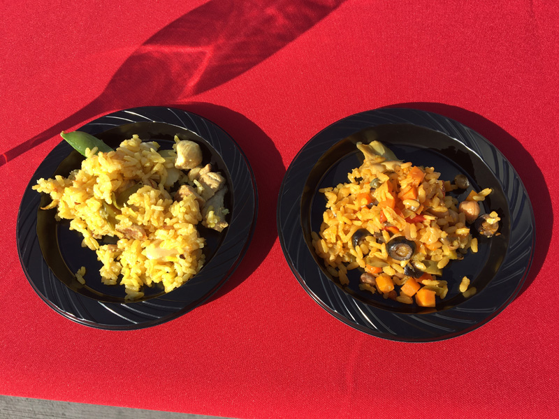 Samples of chicken and veggie paellas - paella