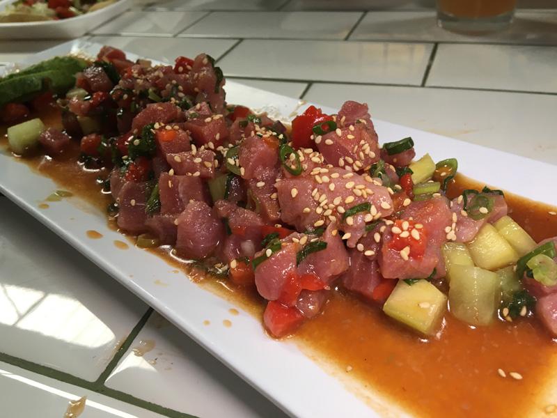 Cubed tuna with cucumbers, sliced jalapenos and sesame seeds - Tijuana