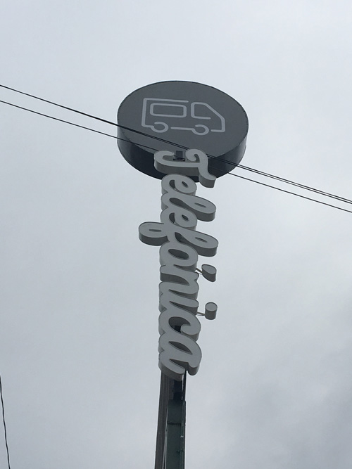 The sign for Telefonica - Tijuana