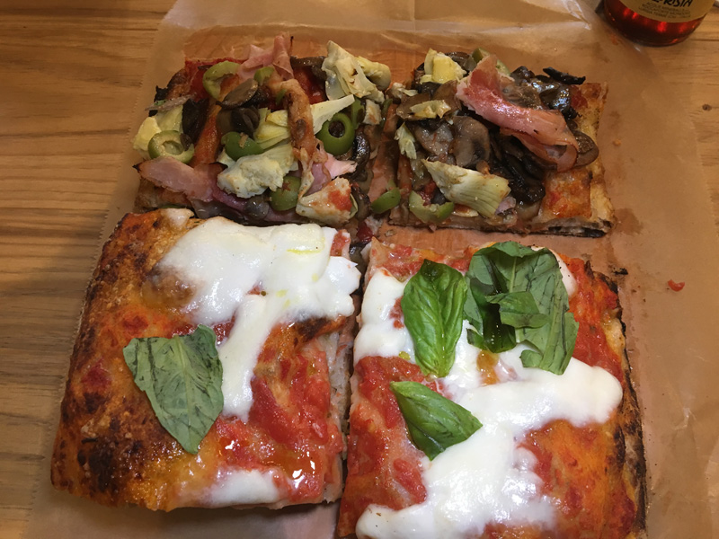 Capricciosa and Margherita pizza - Eataly