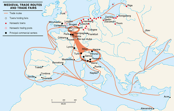 New trade routes played a role in the fall of the medieval Flemish cloth industry