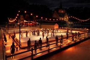 Winter eco ice rink in Bruges Belgium