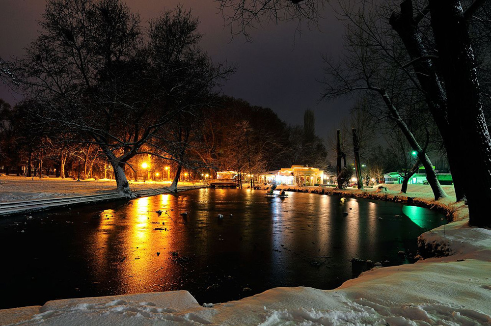 Skopje City Park Night