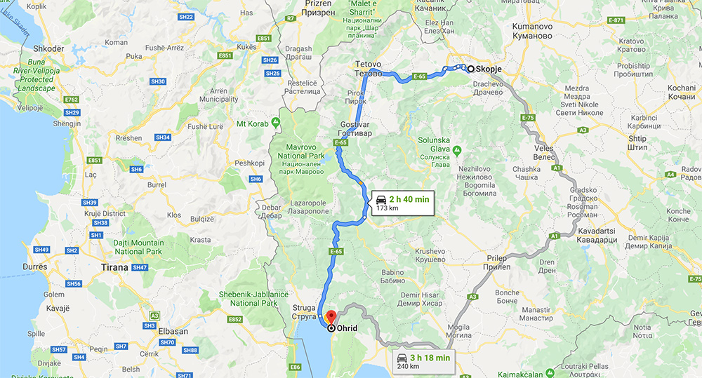 Skopje To Ohrid Distance