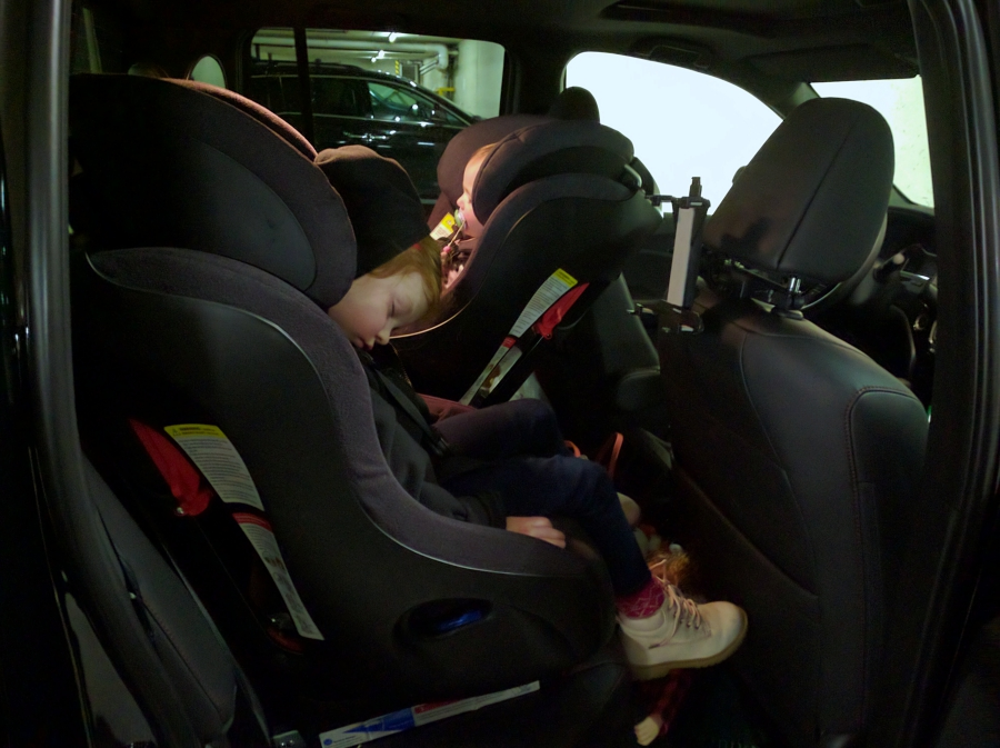 Legends Whistler parking lot, toddler and preschooler asleep in the car