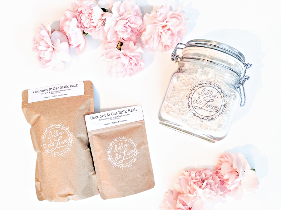 Bébé de Luxe coconut & oat milk bath in bags and a jar