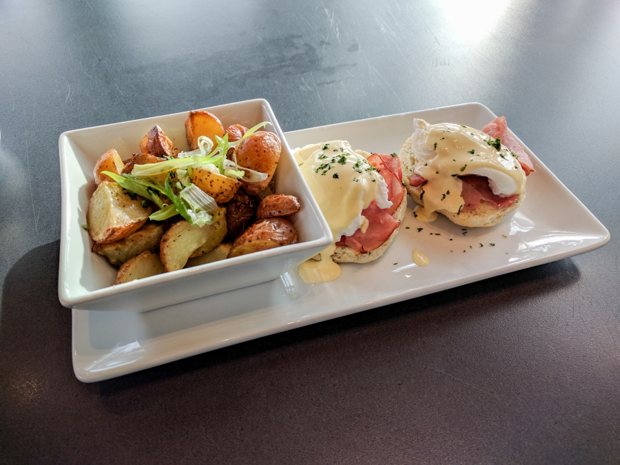 eggs Benedict and hash browns from lelem' cafe in Fort Langley