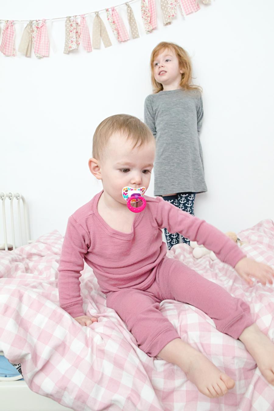 Simply Merino thermal merino wool pyjama set and dress in rose and heather grey