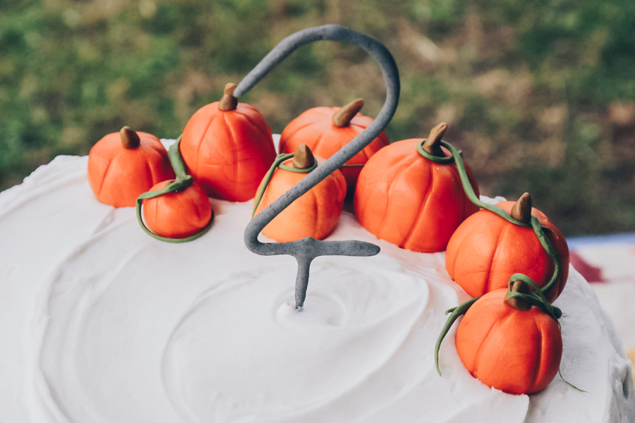 pumpkin patch birthday party, pumpkin themed birthday cake, pumpkins made from fondant, naked cake