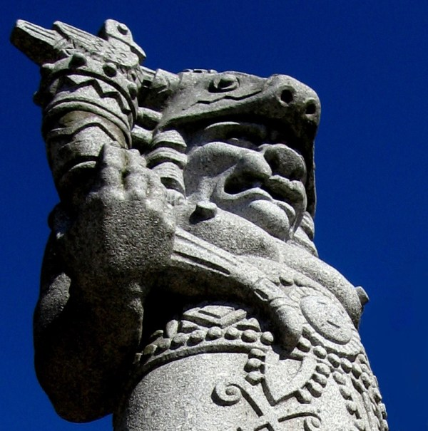 Statue of the pagan god Radegast on Pustevny, Beskydy Mountains, Czech Republic.