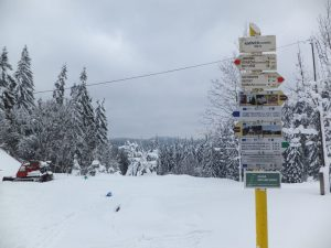 Cross country skiing, Beskydy Cross Country Highway, Beskydy Mountains, North Moravia, Czech Republic