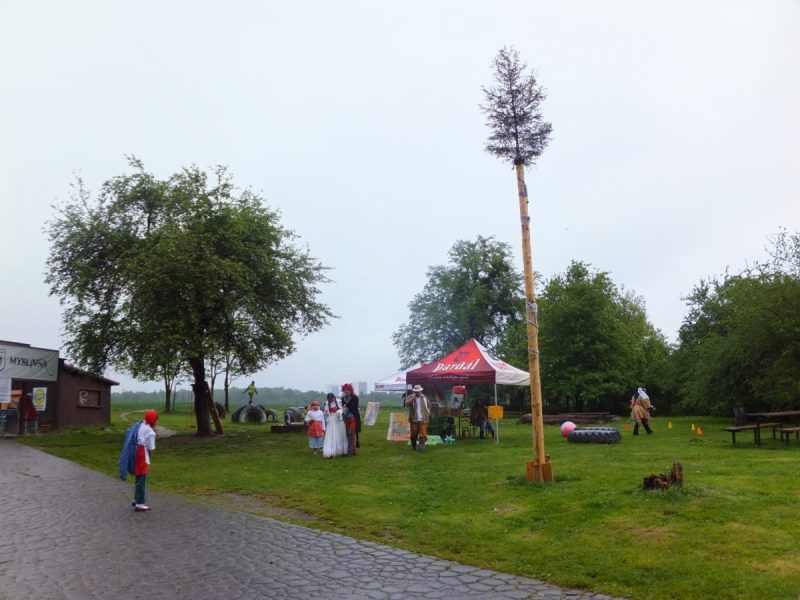 Pohadkovy Les - Fairytale Forest. Czech traditions. The Maypole looking more like an October pole.