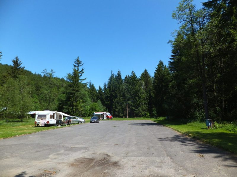 Hard and soft surfaces for caravans and motor-homes, along with electrical hook-ups. Czech camping.