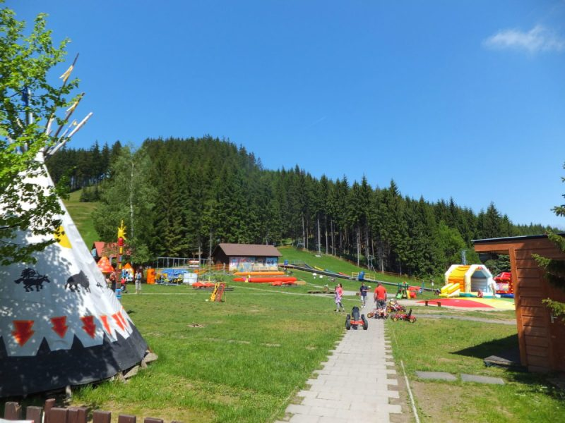 A better view of the kids' playground. Czech camping.